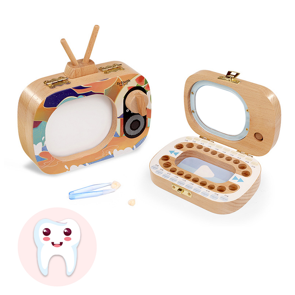 Baby Milk Teeth Box Baby Wood Tooth Box Baby Tooth Organizer Kids Deciduous Storage Collect Wooden Box Childhood Memory