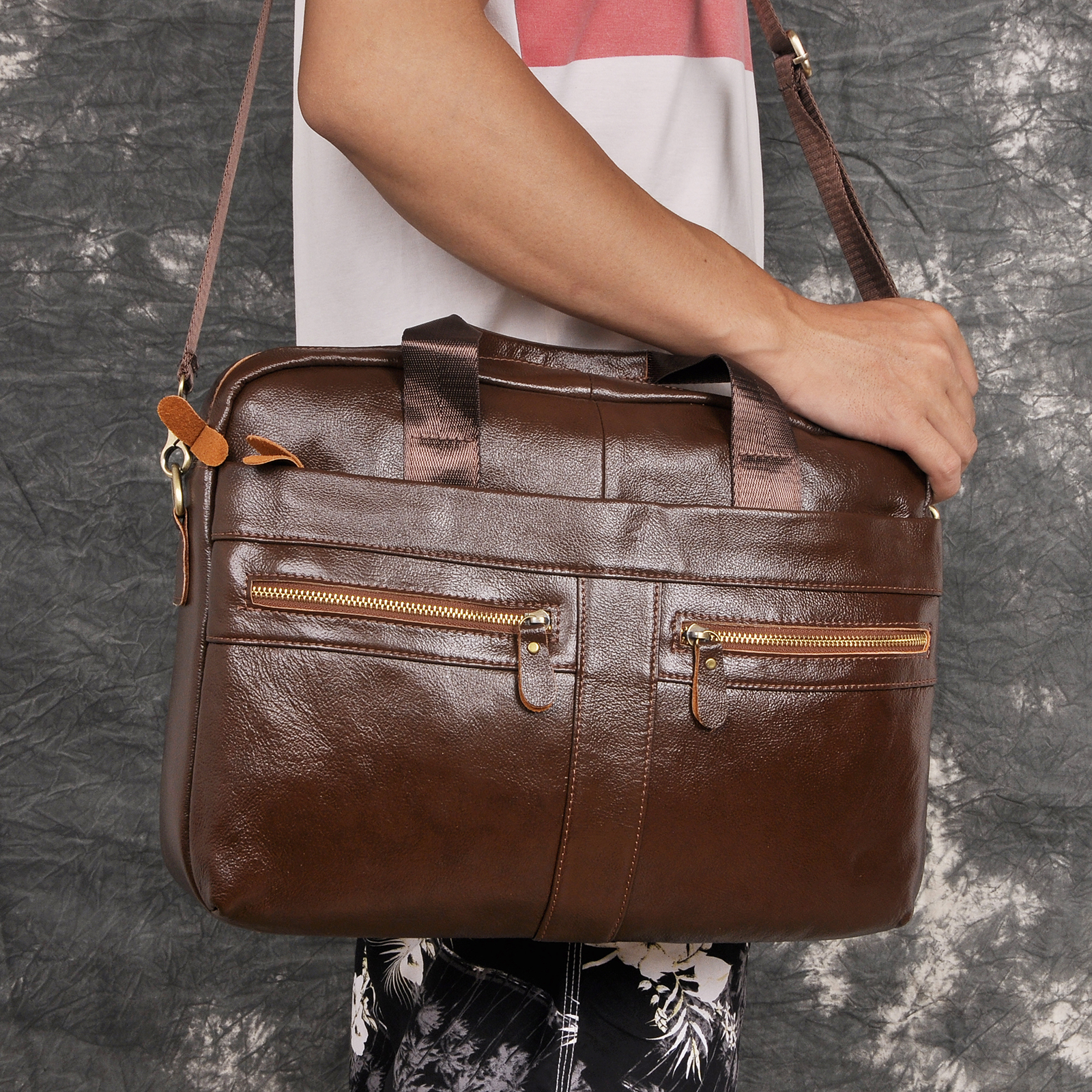 Men Oil Waxy Leather Antique Design Brown Business Briefcase 16
