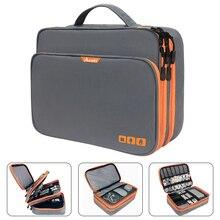 שלוש שכבה אלקטרוני אביזרי ארגונית, אחסון תיק עם כיס קדמי נסיעות כבל ארגונית גדול קיבולת עבור iPad