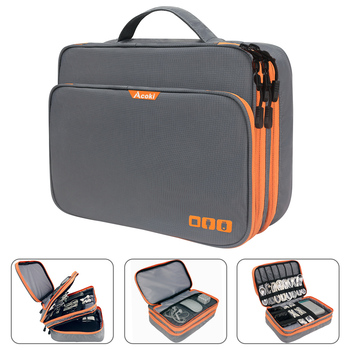 Three Layer Electronic Accessories Organizer, Storage Handbag with Front Pocket Travel Cable Organizer Large Capacity for iPad - discount item  6% OFF Games & Accessories
