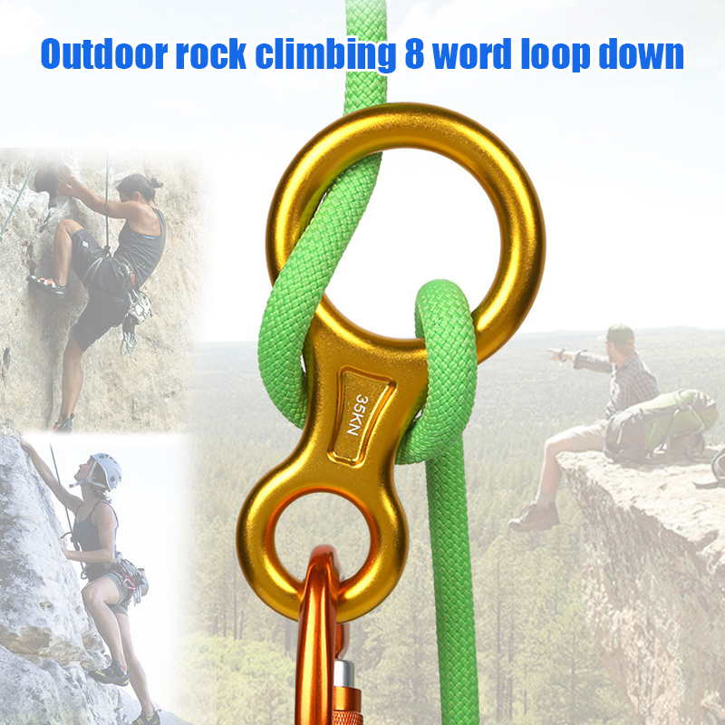 Newly Climbing Rope Rescue Descender 8 Word Ring Downhill Equipment Outdoor High Altitude Descending Device BN99