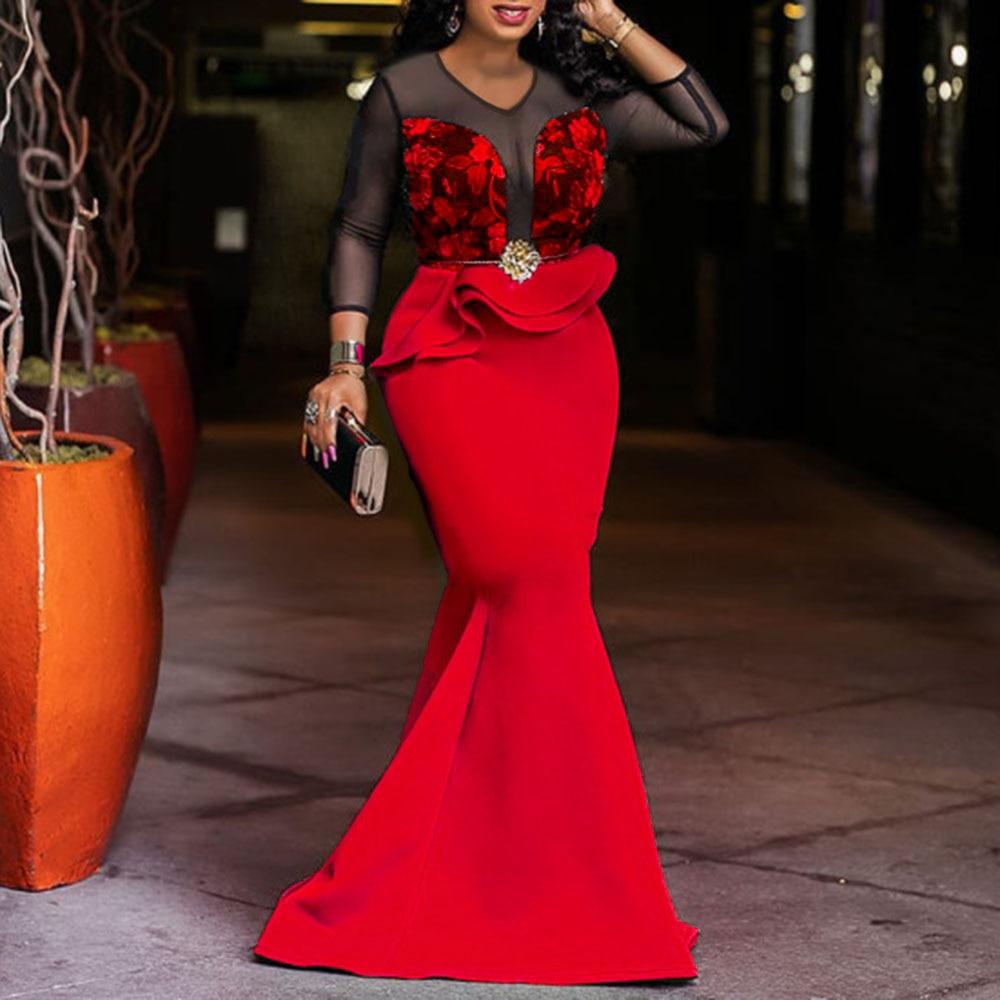 Afrikanische Damen Lange Party Meerjungfrau Kleid Sexy Transparent Mesh Rüschen Frauen Hochzeit Abend Plus Größe Bodycon Maxi Kleid Trompete