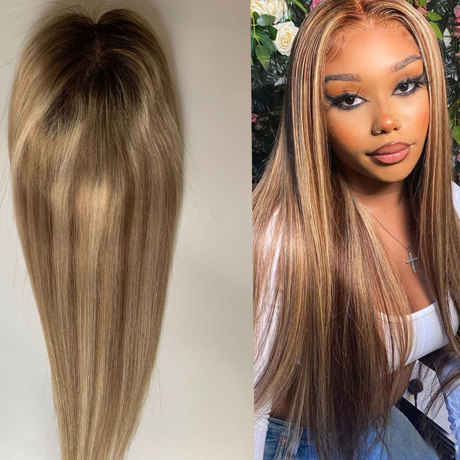 Ombre Human Hair Toppers Clip in Extensions 18*20cm 8-20inch Natural Straight Highlight Color Full mono+pu Remy Hair for Women