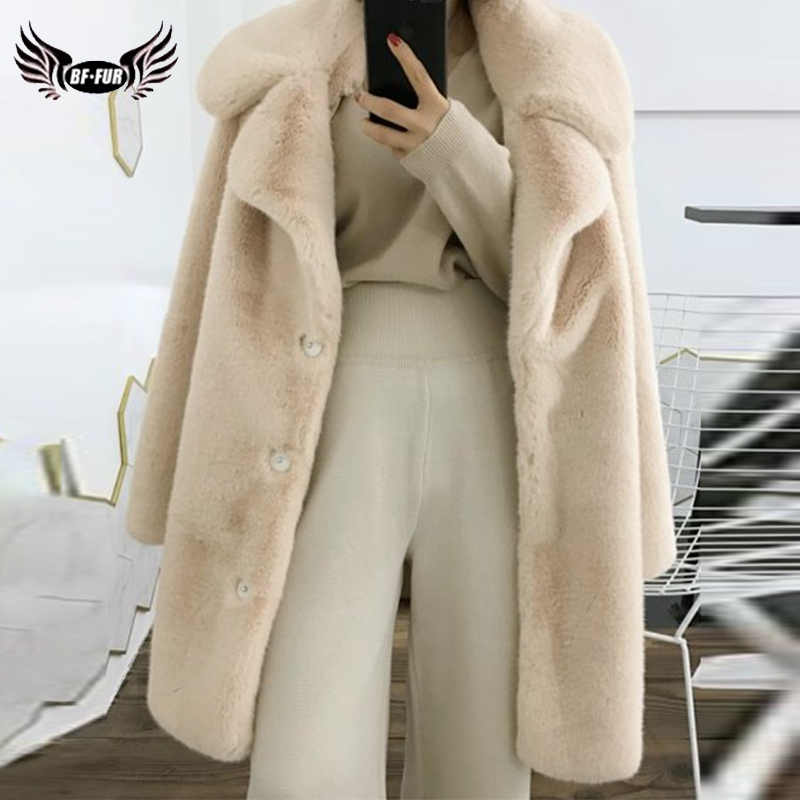 2019 BFFUR Woolen Blends Women Real Fur Coat With Big Turn Down Collar Pure Color Female Jacket Warm Winter Park With Fur