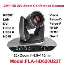 2MP Full HD Interior Câmera PTZ 20x Zoom Óptico, 1920x1080 60fps, USB2.0, USB3.0, HDMI, Streaming de IP, Audio-in,54.7 graus FOV