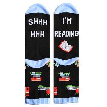 Unisex Funny Saying Novelty Cotton Crew Socks Shhh I Am Reading Letters Cartoon Books Print Mid Tube Xmas Gift - discount item  18% OFF Women's Socks & Hosiery