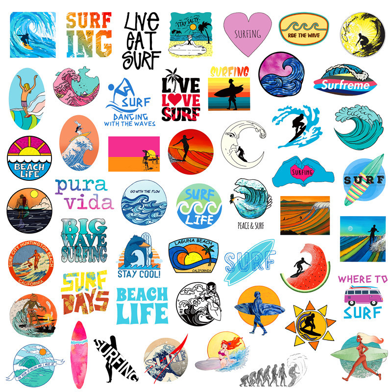 50 Pcs / Pack Stickers Summer Surf Beach Sticker For Children On The Laptop Fridge Phone Skateboard Suitcase Funny Cool Sticker