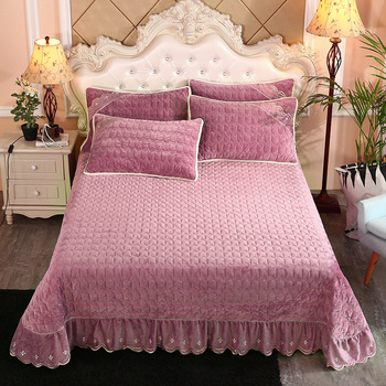 Super Soft Solid Quilted Bed Quilted Bedspread Bed Cover Winter style Warm Fleece Chic 250X250cm/250X270cm Bed spread Pillowcase фото