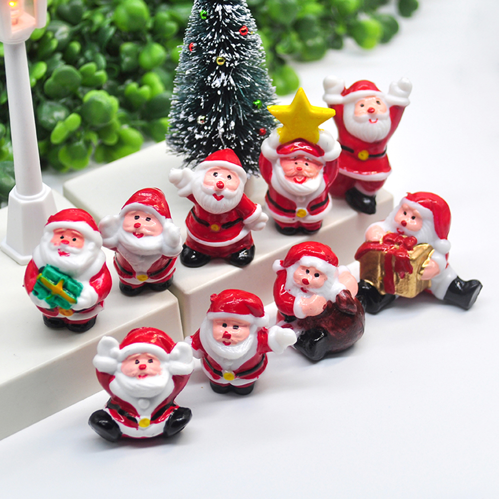 2020 Miniature Christmas Tree Santa Snowman Decoration Gift Miniature Garden Fairy Tale Character Home Table Decoration