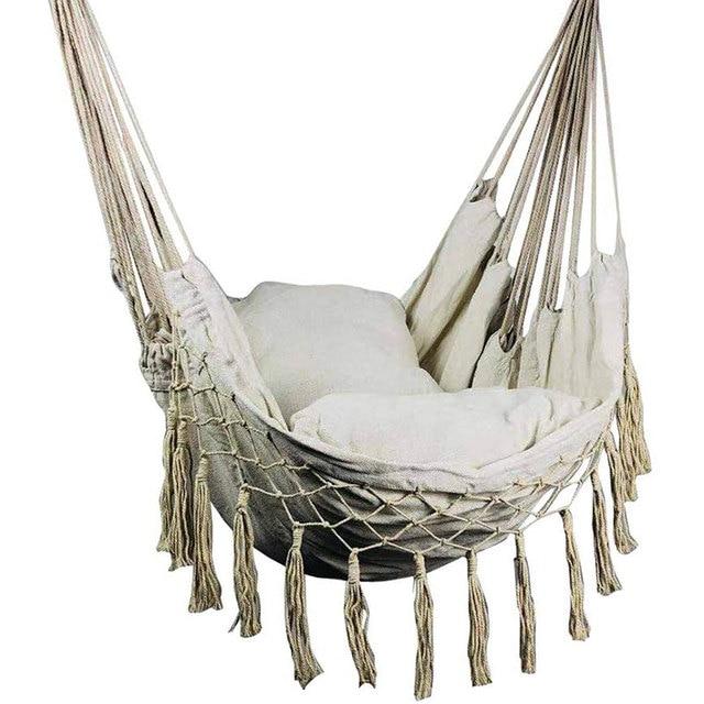 Macrame Hanging Porch Swing Hammock Chair  5