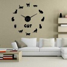 Mirror Wall-Watch-Kit Sphynx Cat Sticker Decor Hairless Large DIY 3D Sphinx Cat-Breed