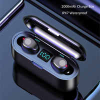 Wireless Earphone Bluetooth V5.0 F9 TWS Wireless Bluetooth Earburds LED Display With 2000mAh Power Bank Headset With Microphone