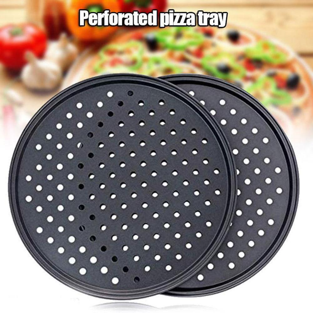 24.5/26/28/32cm Carbon Steel Non-stick Pizza Stones Pizza Pan Pizza Baking Pan Tray Mesh Tray Plate Dishes Bakeware Baking Tools