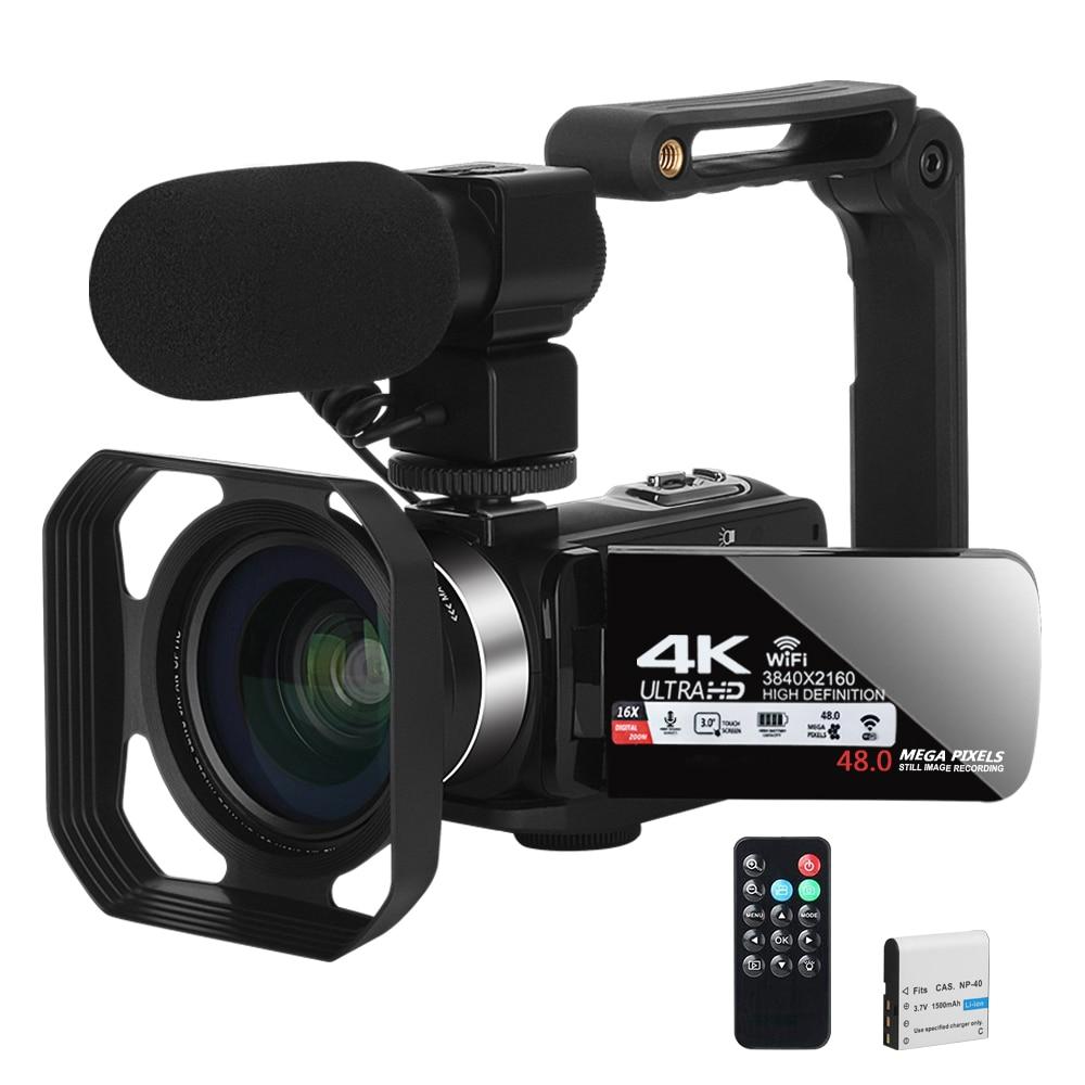 Видеокамера YouTube, камера для видеозаписи, 4K, Wi-Fi, Ultra HD, 30 кадров в секунду, 48 МП, 16-кратный цифровой зум, видеокамера для видеоконференций