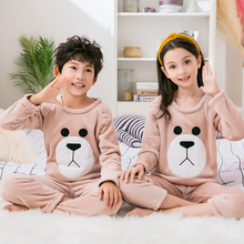 Children Sleepwear Pajamas-Sets Home-Clothes Flannel Girl Kids Winter New Warm Coral