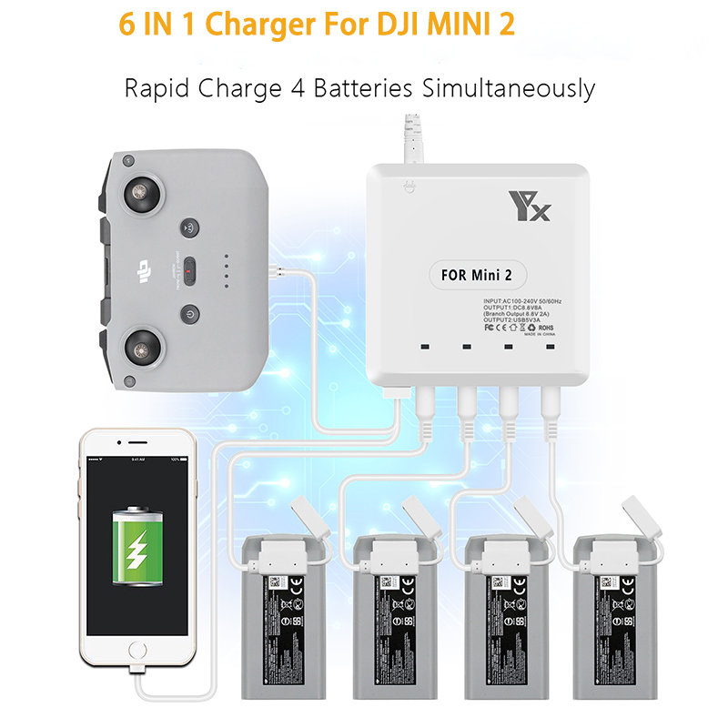 DJI Mini 2 Multi Charger Charge 4 Batteries For 70 Minutes USB port Remote Control Charging For  DJI Mini 2 Drone Accessories