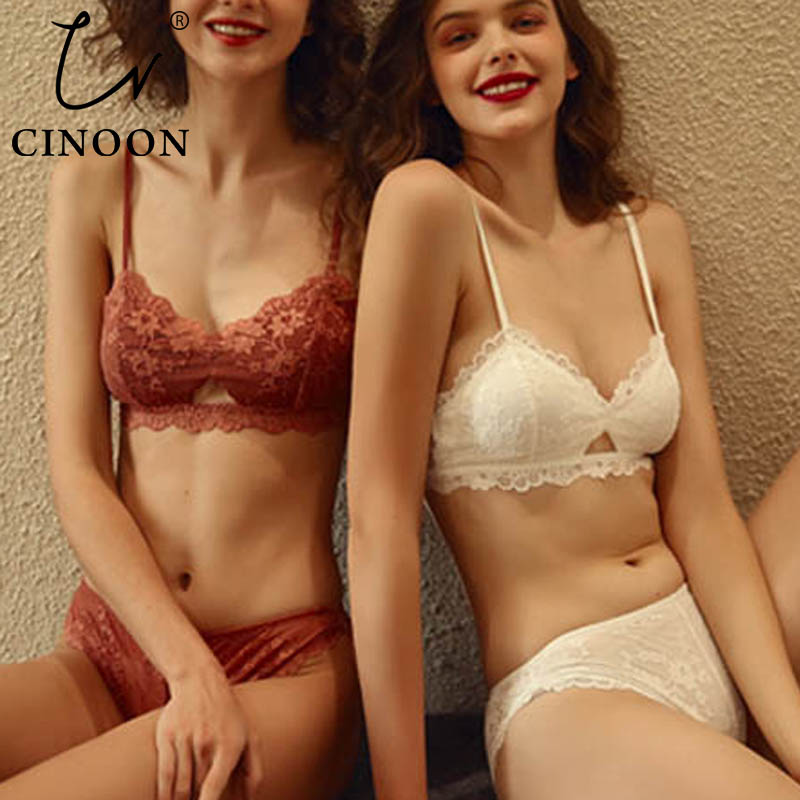 CINOON New Lace Lingerie Hollow out Brassiere Luxury intimates French Bra Set Sexy Embroidery Women Underwear Sets