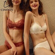 Cinoon nova lingerie de renda oco para fora do sutiã de luxo intimates francês conjunto sutiã de renda sexy bordado feminino conjuntos de roupa interior