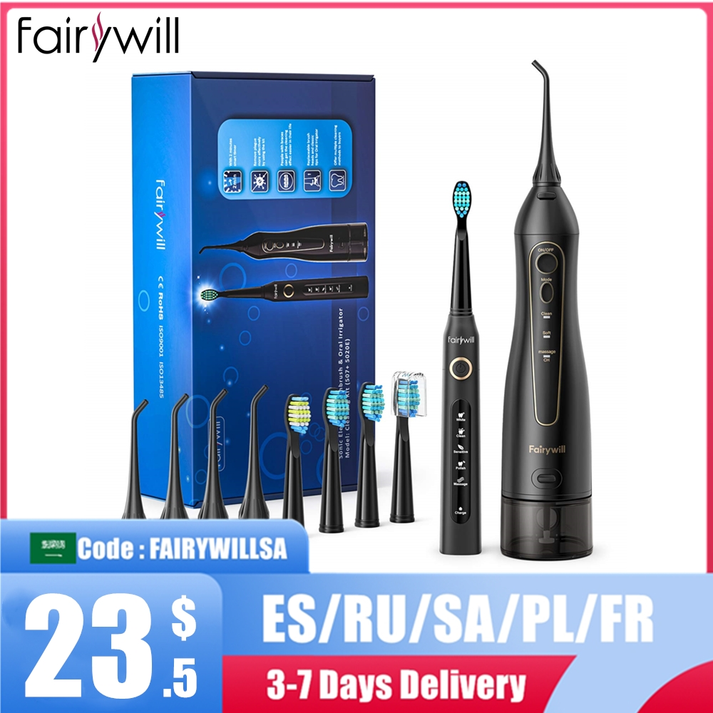 Fairywill Oral Irrigator USB Rechargeable Water Flosser Portable Dental Water Jet 300ML Water Tank Waterproof Cleaner 8 Nozzles