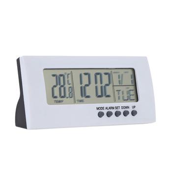 Elektroniczny zegar na biurko cyfrowy zegar stołowy dom wielofunkcyjny zegar led z funkcja alarmu termometry higrometr dekoracja na biurko tanie i dobre opinie Geometryczne Fala ruch Krótkie Funkcja drzemki 100mm 50mm Zegary biurkowe DIGITAL TS-H205 Z tworzywa sztucznego Kalendarze