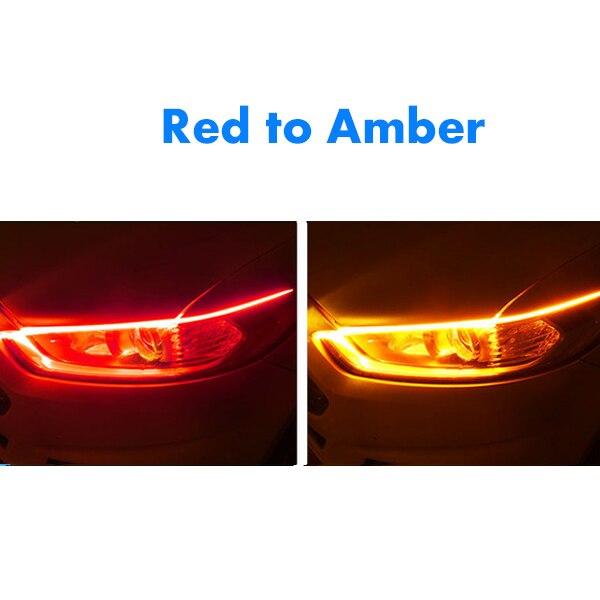1 шт. новейший автомобиль DRL светодиодный дневные ходовые огни авто течёт указатель поворота направляющая полоса фары в сборе аксессуары для стайлинга автомобилей - Цвет: Red To Amber