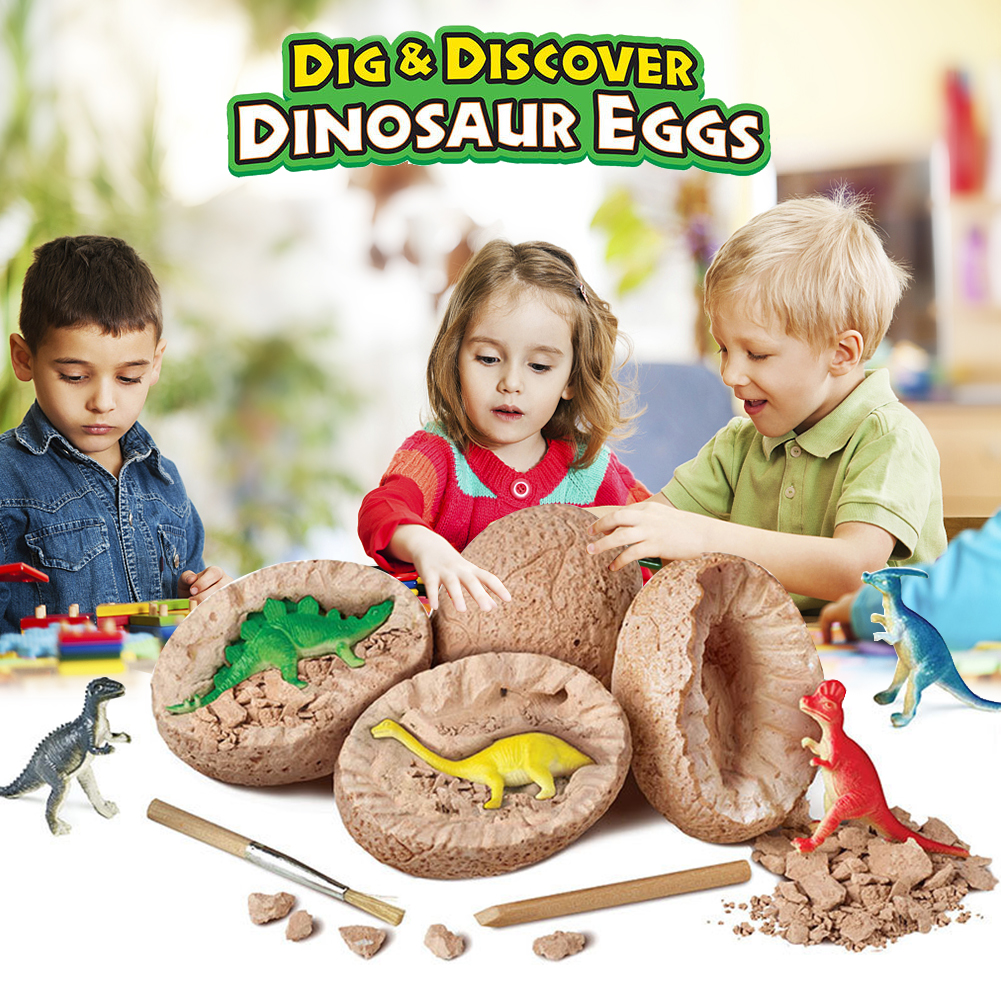 1 Set DIY Dinosaur Egg Toys Novelty Digging Fossil Excavation Toys Kid Educational Learning Toy Best Gift For Children Wholesale