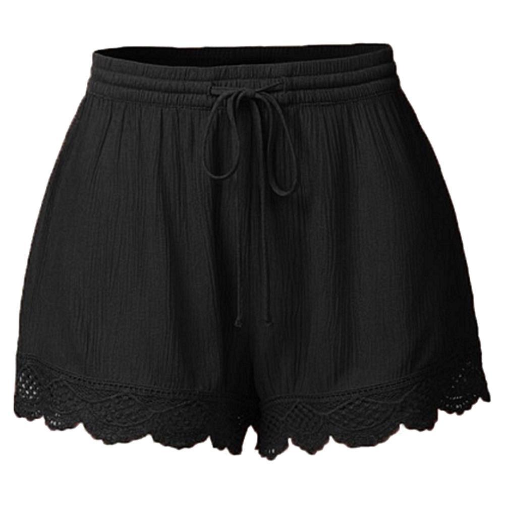 Casual Women Solid Color Lace Trim Short Pants Elastic Drawstring Waist Shorts