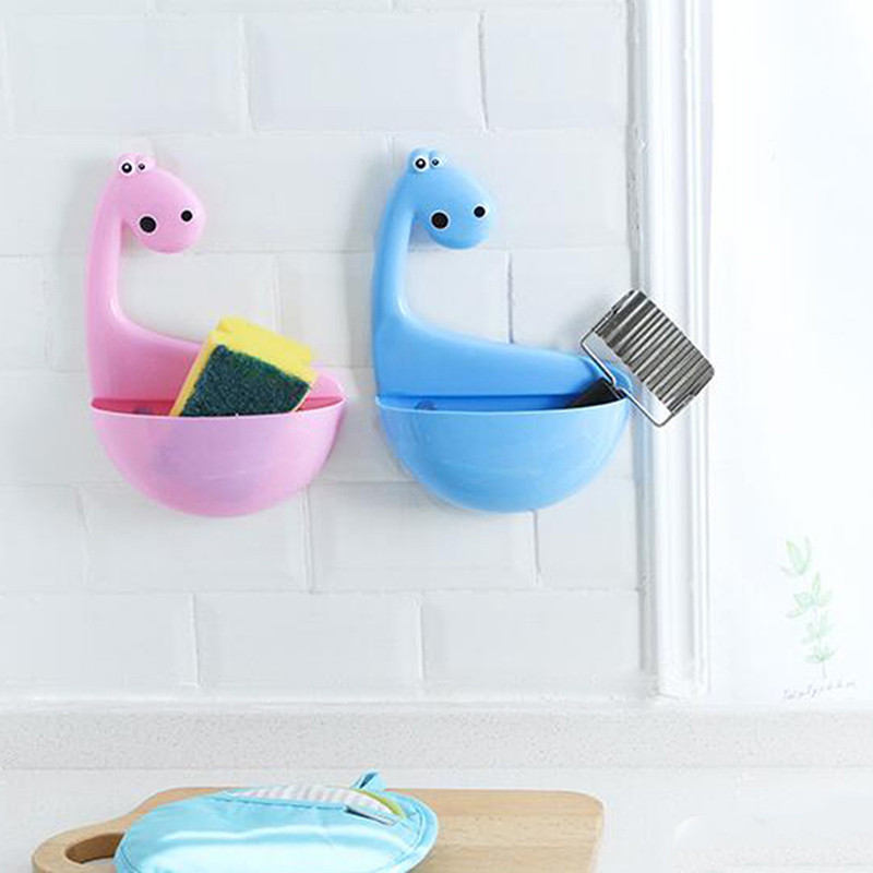 Lovely Dinosaur Sucker Toothpaste Rack Cute Practical Drain Rack Bathroom Storage Products Toothbrush Holder image