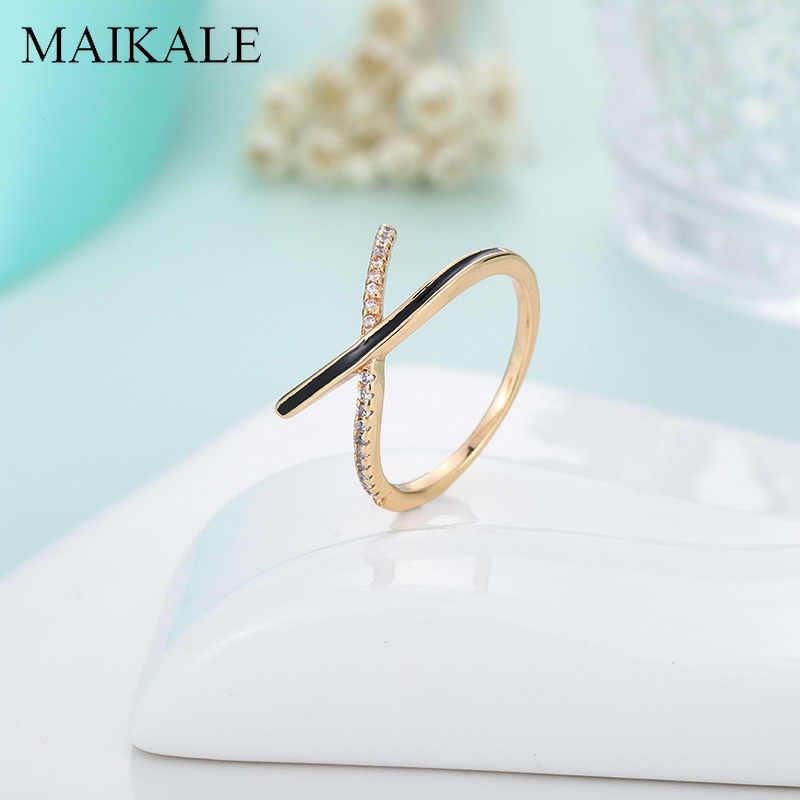 MAIKALE Simple Cross บางแหวนเคลือบ Zirconia X รูปร่างนิ้วมือแหวนเครื่องประดับหญิงอุปกรณ์เสริมของขวัญ