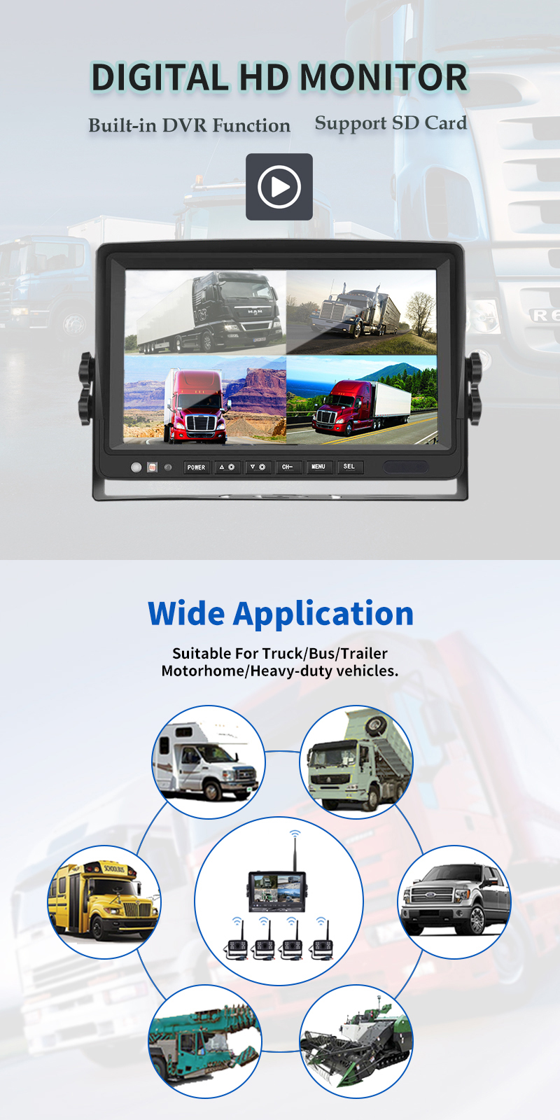 Wireless Rv Truck Trailer Bus Forklift 4 Channel Video Record 7 Inch Monitor Infrared Reverse Backup Quad View Camera System 16