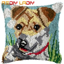 Latch Hook Cushion Kits Animals Dog Pre-Printed Canvas Acrylic Yarn Crocheting Pillow Case Sofa Cushion Cover Bed Pillow Crafts(China)