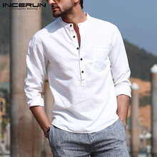 INCERUN Men's Casual Shirt Cotton Solid Color Long Sleeve Blouse Chic Stand Collar Fashion Handsome Tops 2021 Streetwear Camisas