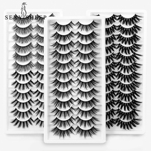 12 Pairs  3d Mink Lashes Natural Mink Lashes Extension  Handmade Soft Fake Eye Lashes Thick Eye Makeup Beauty