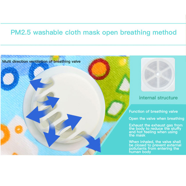 Children Anti Dust Mask Reusable with Breath Valve Anti Haze Cotton Mask Antibacterial Pm2.5 Filter Respirator Mouth Mask Kids 2