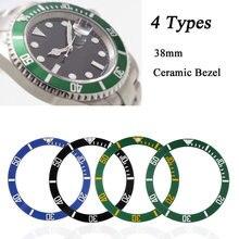 38mm relógio de pulso rosto cerâmica moldura inserção para 40mm submariner automático relógios dos homens substituir acessórios preto/azul/verde