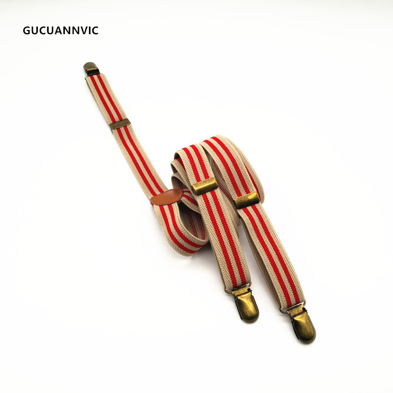 Elastic Striped Men Strap Men And Women's Suspenders Clothing Retro Clip Strap Pants