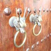 COTOM 1 pcs 3D Statue Dragon Brass Door Knocker Sturdy Vintage Gate Solid Ring Pulls Antique House Wood Door Handle Decoration