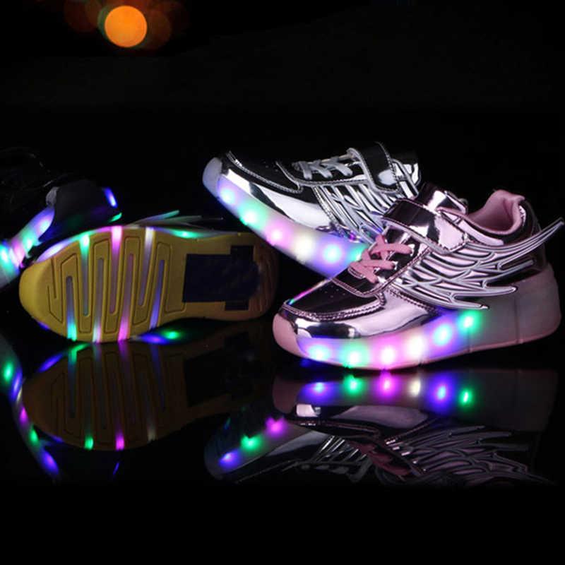 Mudipanda Kids Schoenen Met Led Verlichting Kinderen Roller Skate Sneakers Met Wielen Gloeiende Led Light Up Voor Jongens Meisjes Zapatillas