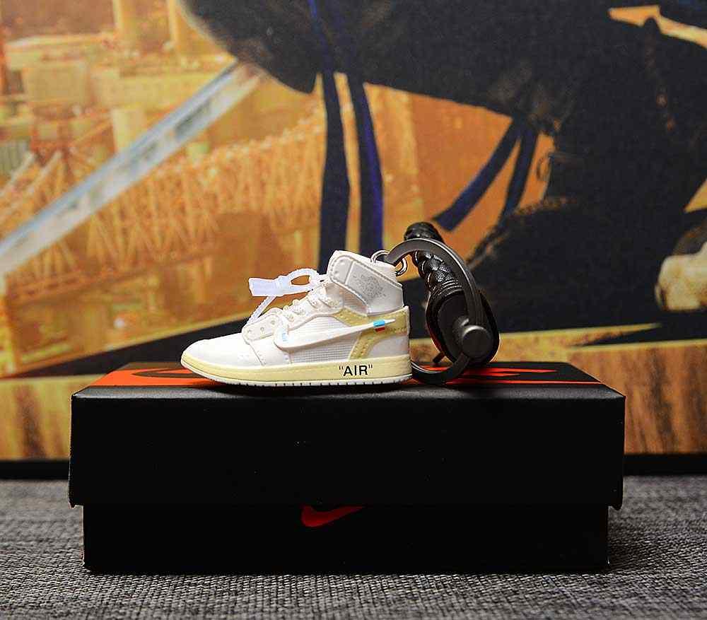 dropshipping aj1 offwhite Chicago Unc sneaker keychain Air Jordan 1 3D Mini Sneaker Banned Sports shoe Sneaker keychains