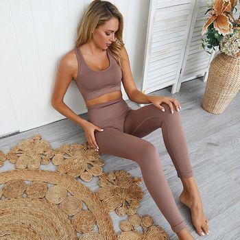 nahtlose Hyperflex Workout Set Sport Leggings und Top Set Yoga Outfits für Frauen Sportswear Sportkleidung Gym Sets 2 Stück