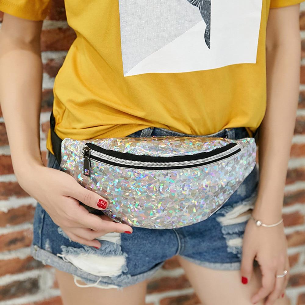 Fanny Pack Waist Bag Sport Laser Crossbody Bag Chest Bag Messenger Fashion Bags For Women 2019 Mini Neutral Outdoor Phone Bag&