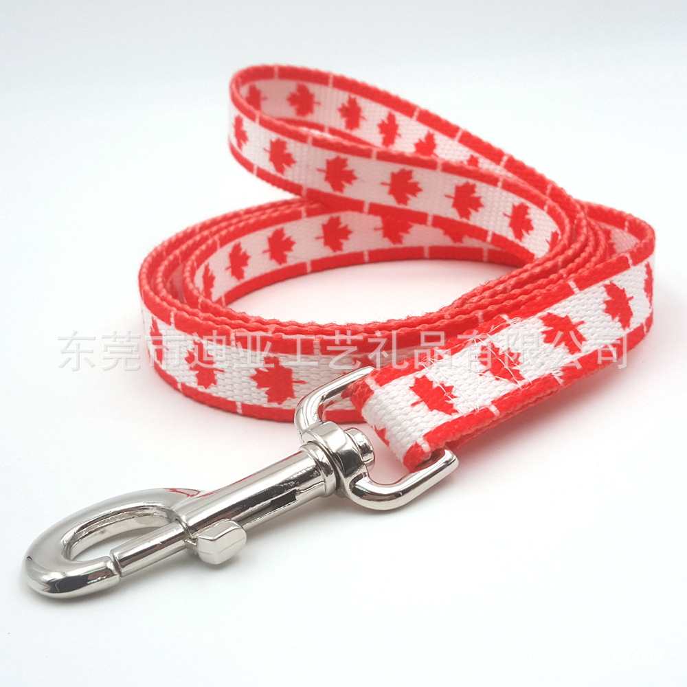 Electricity Supplier 11-2.0 Cm Canada National Flag Yin Hua Kuan Pet Traction Rope Dog Hand Holding Rope Autonomous Design