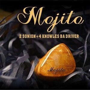 Image 1 - QOA Mojito 2 سينون + 4 نولز المحرك المتوازن الهجين السائقين في الأذن رصد سماعة HIFI DJ ياربود 0.78 مللي متر انفصال كابل
