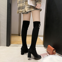 2019 Women Over The Knee High Boots Fashion Winter Short Plush Lining Keep Warm Sexy Square High Heel Boots Size 35-39