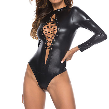 Plus Size 5XL Sexy Women PU Leather Bodysuits Erotic Leotard Costumes Rubber Flexible Latex Catsuit Catwomen Wetlook Clubwear цена 2017