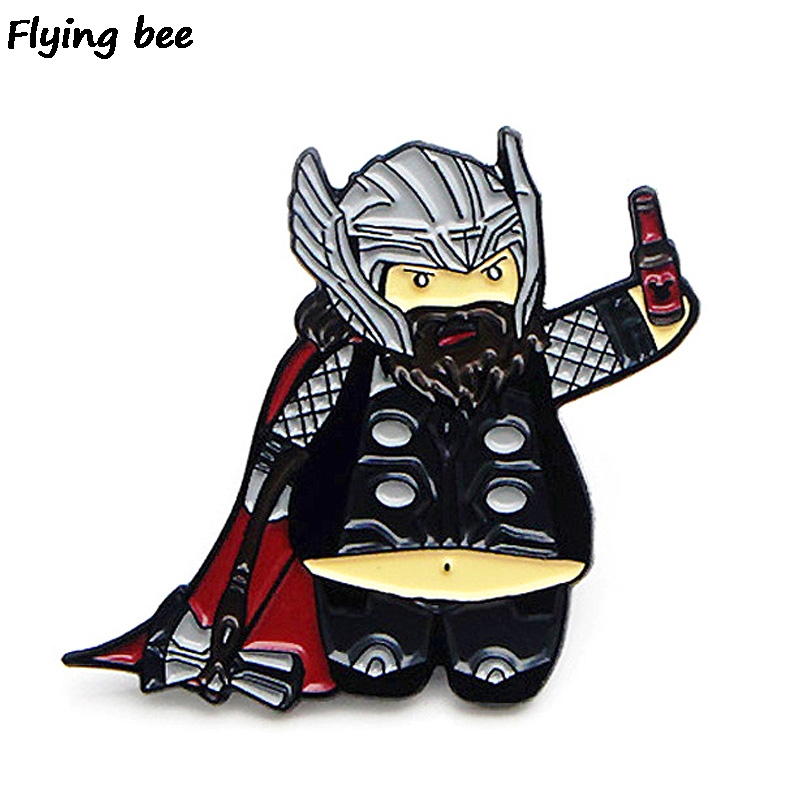 Flyingbee Cartoon Thor Pins Funny Brooch And Pin Clothes Enamel Pins Badges Lapel Pin Backpack Badge Hat Pins For Friends X0451
