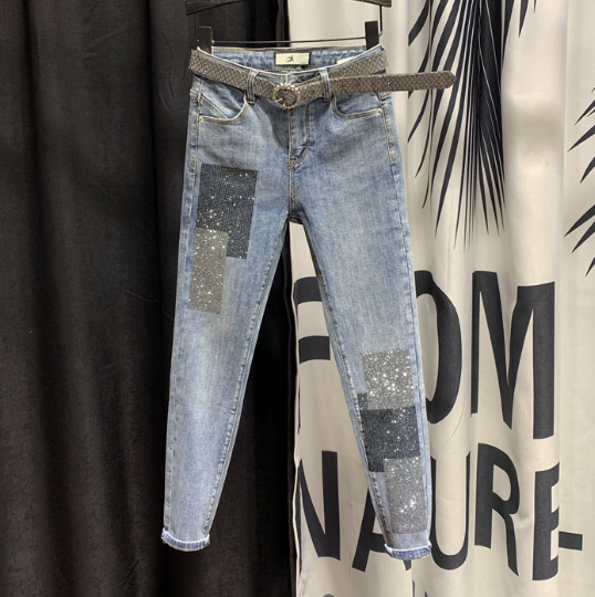 High-Waist Jeans Women Stretch Slim-Fit Denim Jeans Women's 2020 Spring New Sequined Rhinestone Hot Drill Pencil Pants Jeans