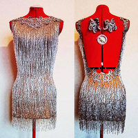 Beaded Fringe Latin Dance Dress Rhinestones Sexy Female singer performance clothing nightclub party birthday celebration dress