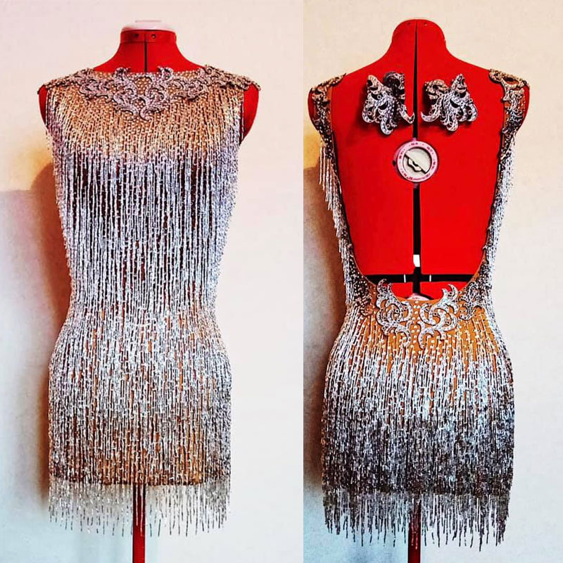 Beaded Fringe Latin Dance <font><b>Dress</b></font> Rhinestones <font><b>Sexy</b></font> Female singer performance clothing nightclub <font><b>party</b></font> birthday celebration <font><b>dress</b></font> image