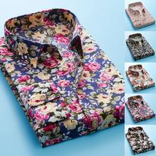Hawajskie koszule dla mężczyzn Plus Size koszule męskie sukienka kwiat wydruku koszula skręcić w dół kołnierz koszule z długim rękawem mężczyźni męska bluzka Camisa tanie tanio COTTON Tuxedo koszule Pełna Pojedyncze piersi REGULAR 11228-4 Oxford Na co dzień Floral